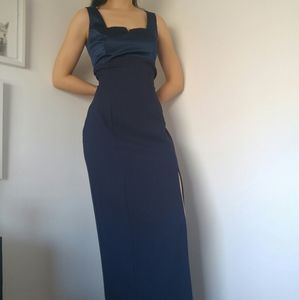 Vintage Square Neck Navy Blue Gown with Slit